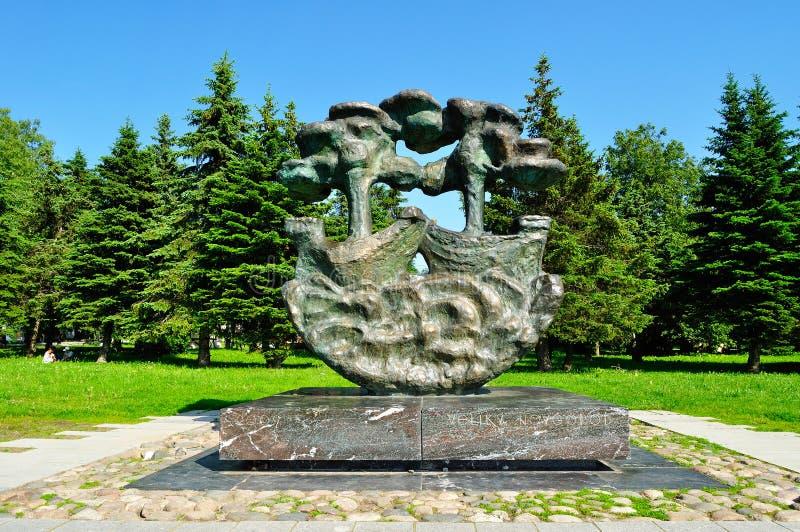 Hanseatic teken bij de binnenplaats van Yaroslav ` s, Veliky Novgorod, Rusland royalty-vrije stock foto