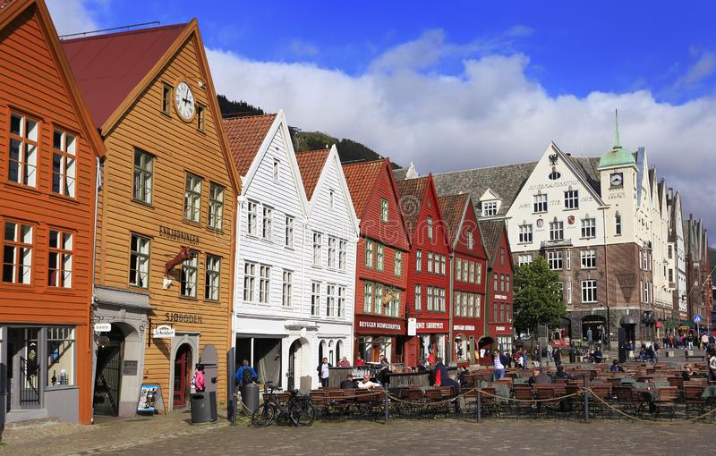 The Hanseatic Wharf waterfront pedestrian area, is a UNESCO World Heritage site with colorful shops and open-air cafes in Bergen royalty free stock photo