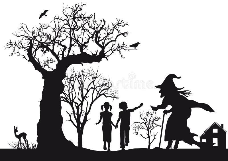 Hansel en Gretel royalty-vrije illustratie