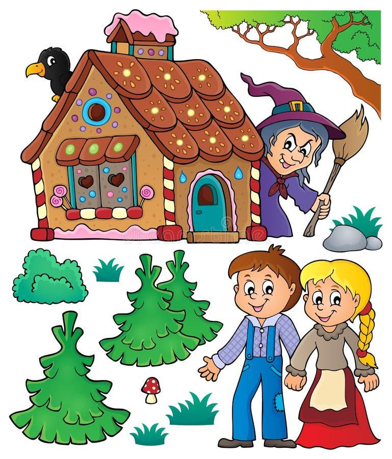 Hansel i Gretel temat ustawia 1 royalty ilustracja