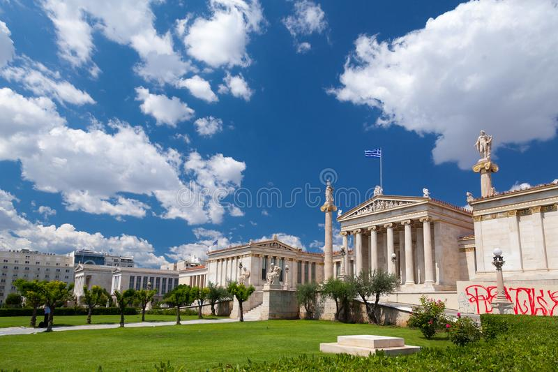 The Hansen Trilogy, in Athens, Greece. The architectonic `Trilogy of Hansen`, as it is known, which is compiled, from right to left, of the Academy, the royalty free stock photo