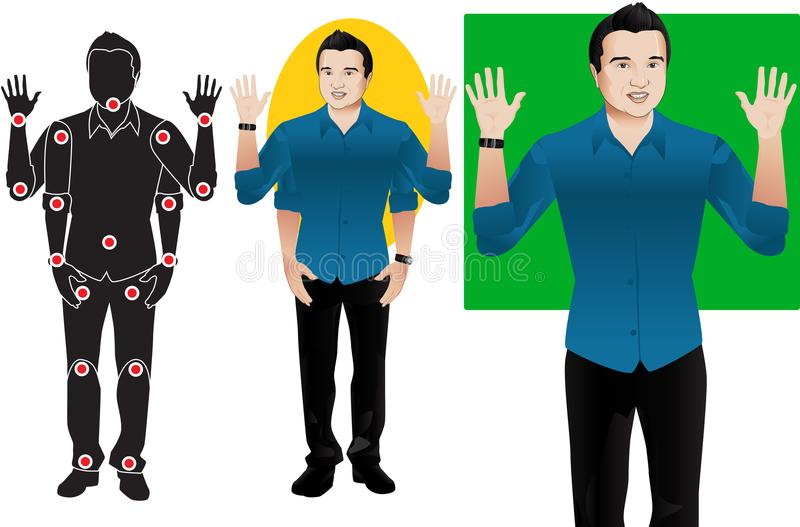 Hanson young man cartoon character in formal blue shirt, animation ready vector doll with separate joints. Gestures. Articulation royalty free illustration