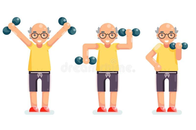 Hantlar för gymnastikgamal manfarfar övar den lyckliga höga illustrationen för vektorn för tecknad filmteckendesignen royaltyfri illustrationer