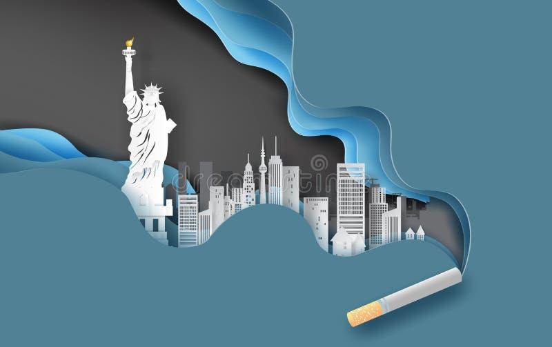 hantverk för papper 3d och konst av cigaretten med cityscapebegrepp Blå bakgrund för abstrakt kurvvåg, Cityscape i New York USA i stock illustrationer