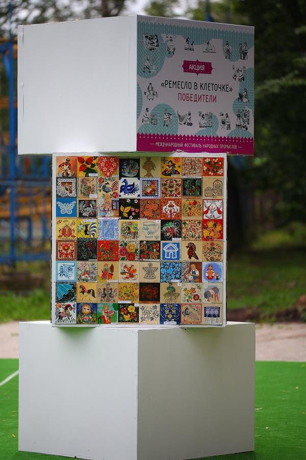 hantverk hemlagad festival Ryssland på Juli 4, 2015, i Vologda, Ryssland royaltyfri foto