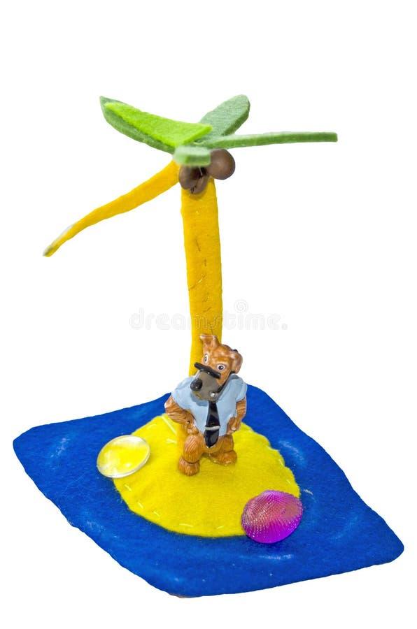 Hantverk som göras av ett barn med deras egna händer, självständigt Obebodd ö och ensam hjälte isolerat stock illustrationer