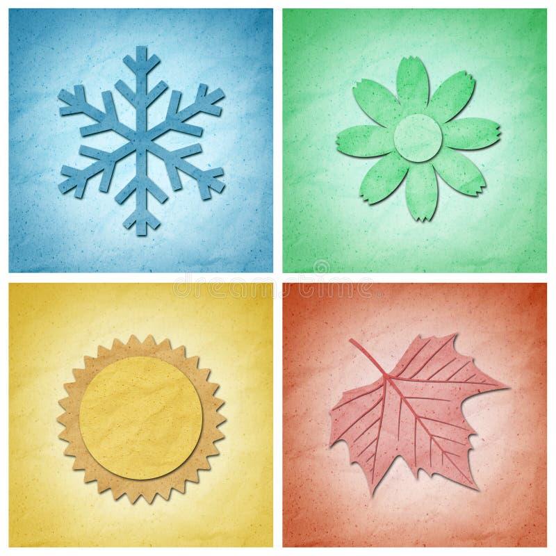 hantverkelement fyra paper säsonger vektor illustrationer