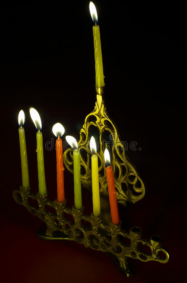Download Hanuka Candles In Hanukkiya Stock Image - Image: 1550331