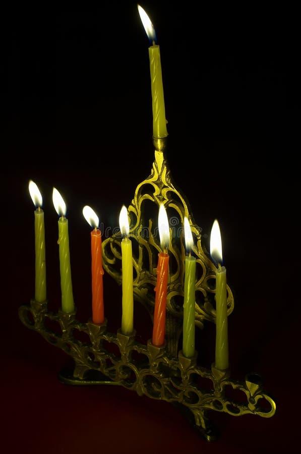 Hanuka Candles In Hanukkiya Royalty Free Stock Photo