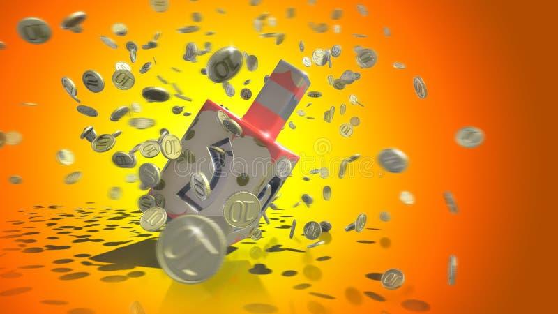 Hanuka celebrate decorative tools. Jewish celebration hanuka toy with moving coins vector illustration