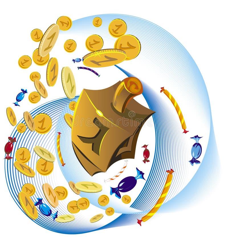 Hanuka decorative tools. Coins, sweets and hanuka traditional yule royalty free illustration
