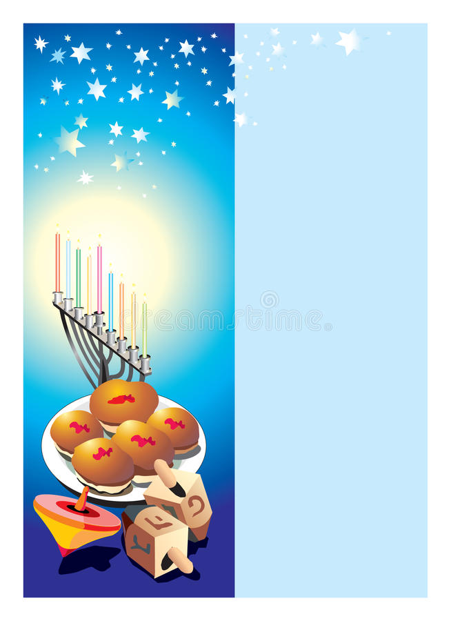 Hanuka frame. Hanukkah, frame, 8 nut candle menora, blue backround, judaism vector illustration