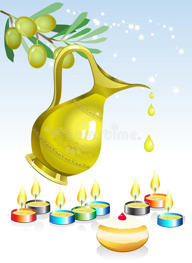 Hanuka holiday background. Hanukkah background with candles, oil and olive tree royalty free illustration