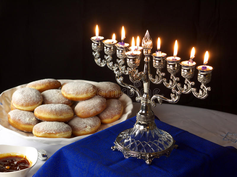 Hanuka lights and donuts royalty free stock image