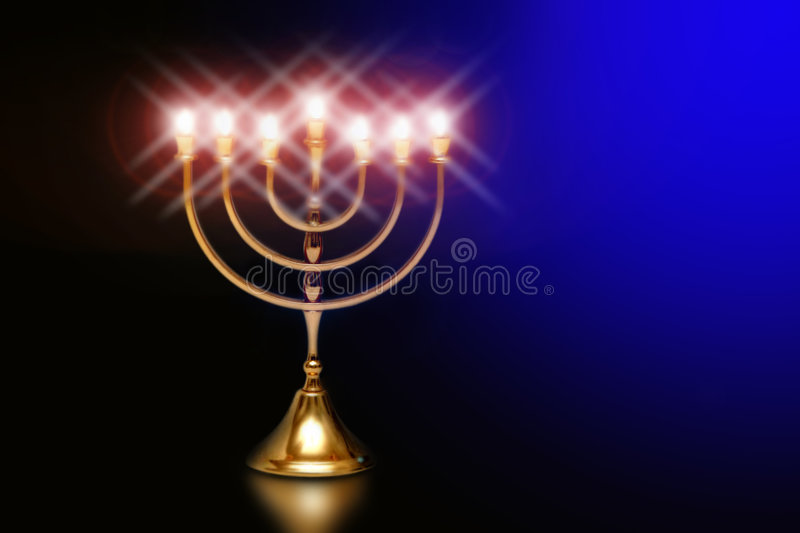 Hanuka menorah. A shining hanukkah menorah in the darkblue background