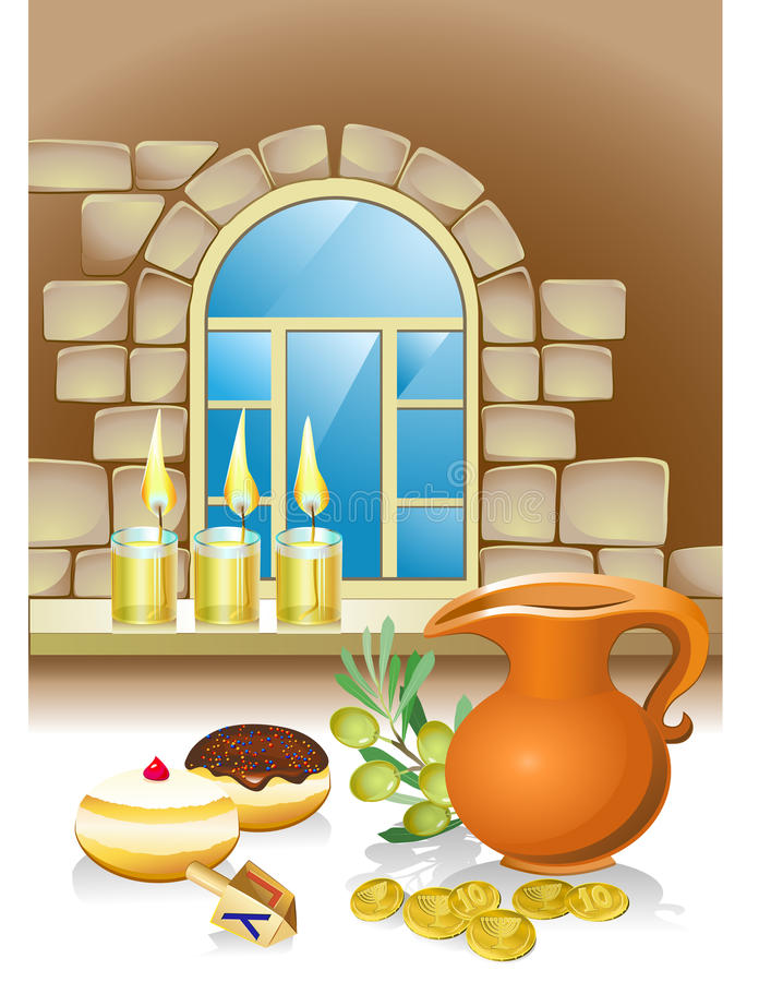 Hanuka still life background. With candles, donuts and window and coins vector illustration