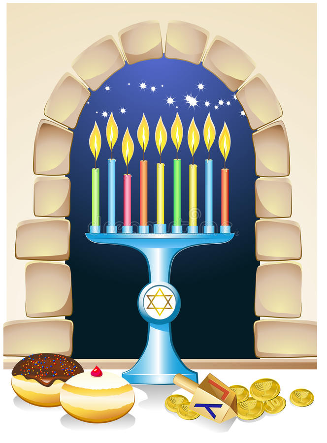 Hanuka still life background. With candles, donuts and window vector illustration