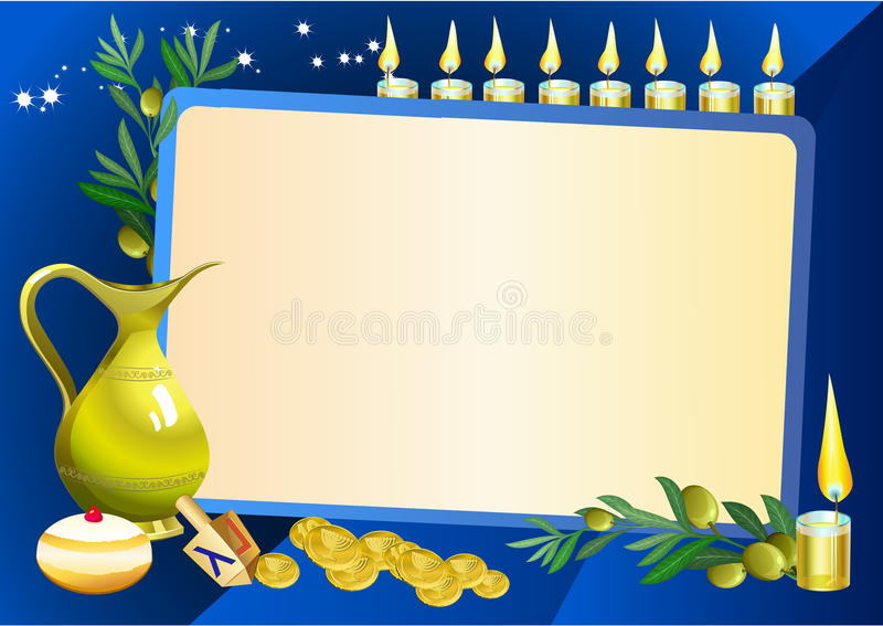Hanuka still life background. With candles, donuts and border for text royalty free illustration