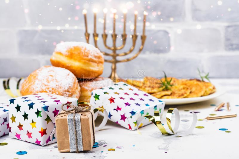 Hanukkah świąteczny tło fotografia royalty free