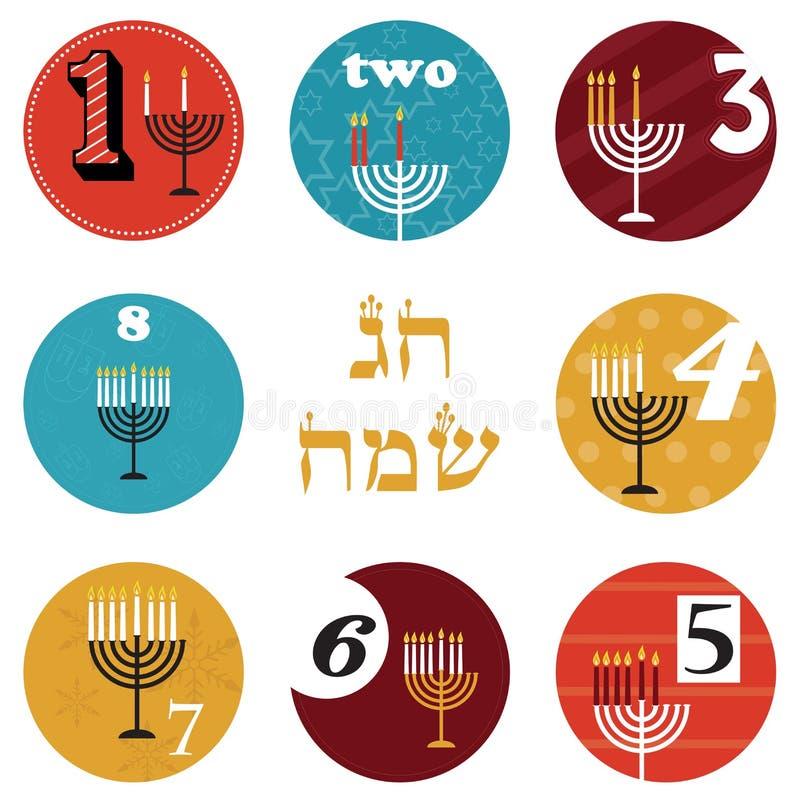 Hanukkah, 8 świeczek dla osiem dni wakacje szczęśliwy wakacje w hebrajszczyźnie