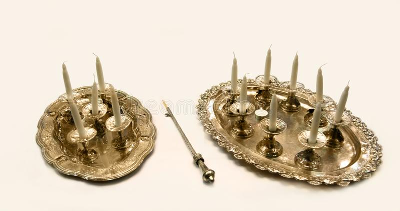 Hanukkah świeczki Żydowski Judaica obrazy stock