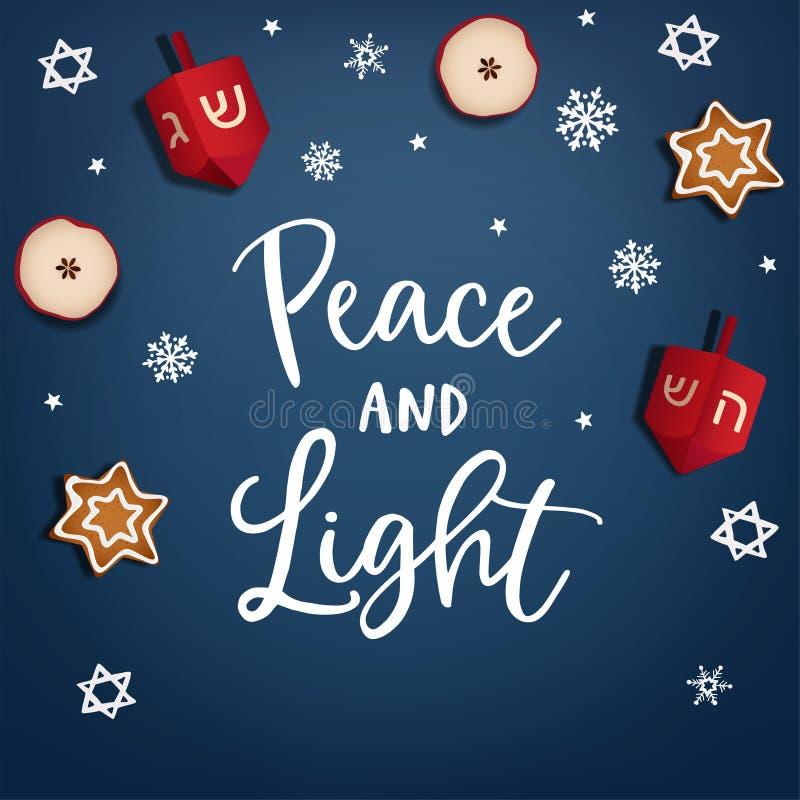 Hanukkah, Żydowski festiwal światło Kartka z pozdrowieniami, zaproszenie Ręka piszący list pokoju i światła tex Kredowe David gwi ilustracja wektor