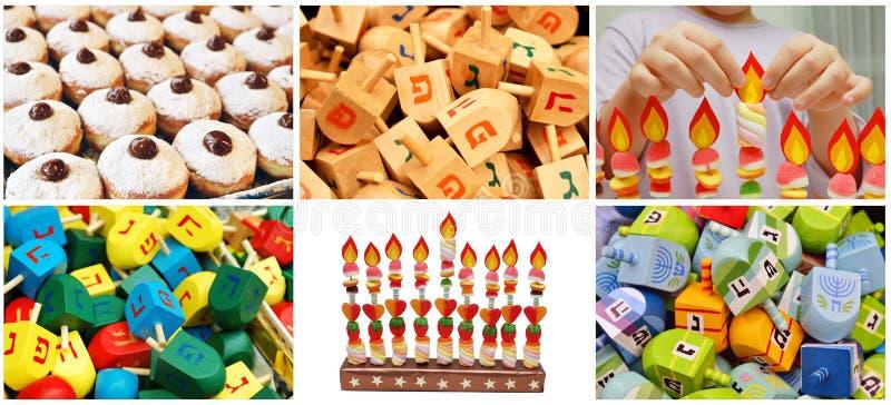 Hanukkah żydowski kolaż robić od sześć wizerunków obraz stock