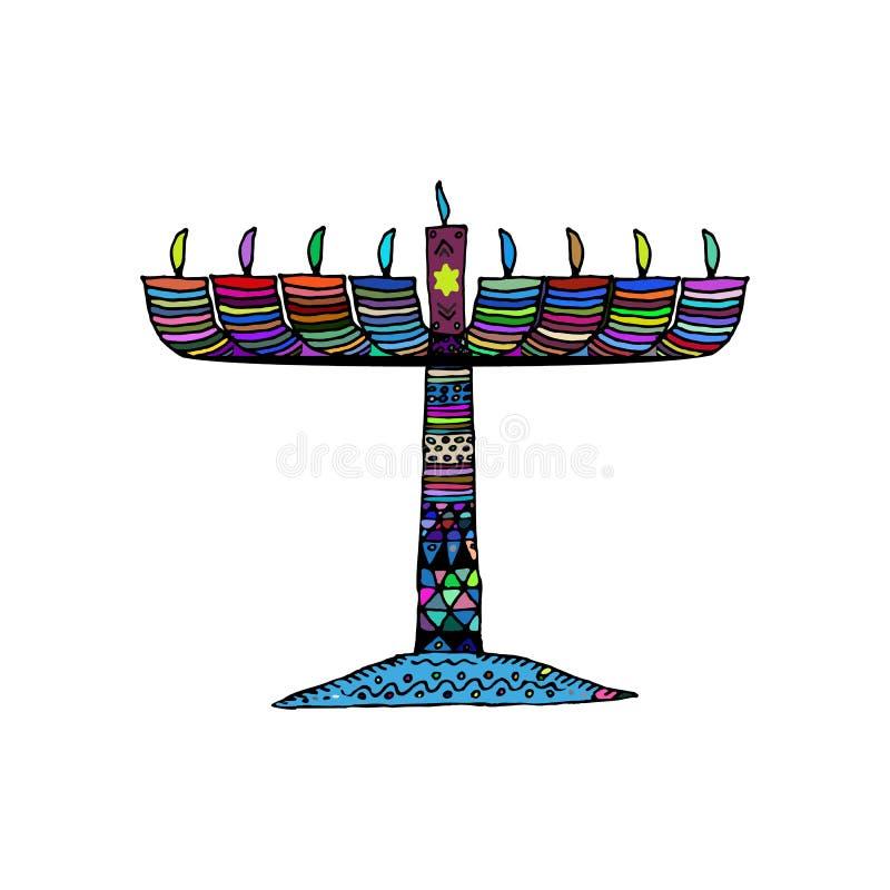 hanukkah Еврейский религиозный праздник Свеча Chanukah красочная Запятнанное пестротканое Doodle, zentangl, эскиз притяжки руки