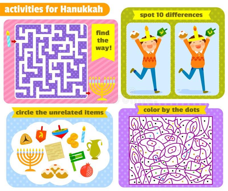 Hanukkah activities. Set of Hanukkah themed puzzle games for kids royalty free illustration