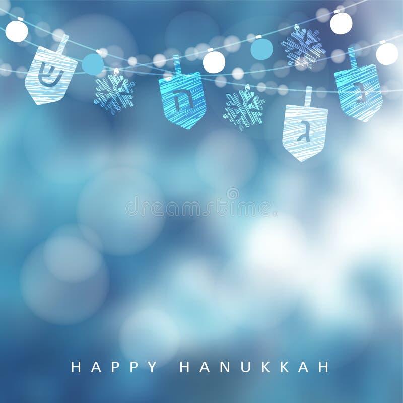 Hanukkah błękitny kartka z pozdrowieniami, zaproszenie z sznurkiem światła, dreidels i płatki śniegu, szampańskiej wystroju dekor ilustracji