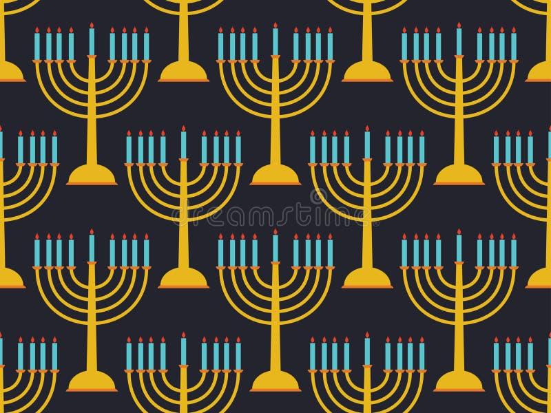 Hanukkah bezszwowy deseniowy candlestick z dziewięć świeczkami Czarny tło wektor