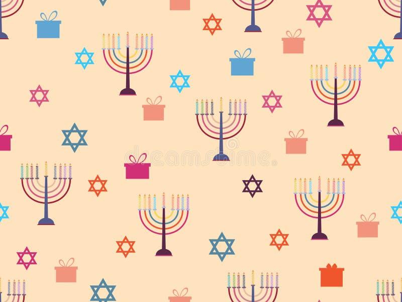 Hanukkah bezszwowy wzór z candlesticks, gwiazdami i prezentami, kawałków tło wektor
