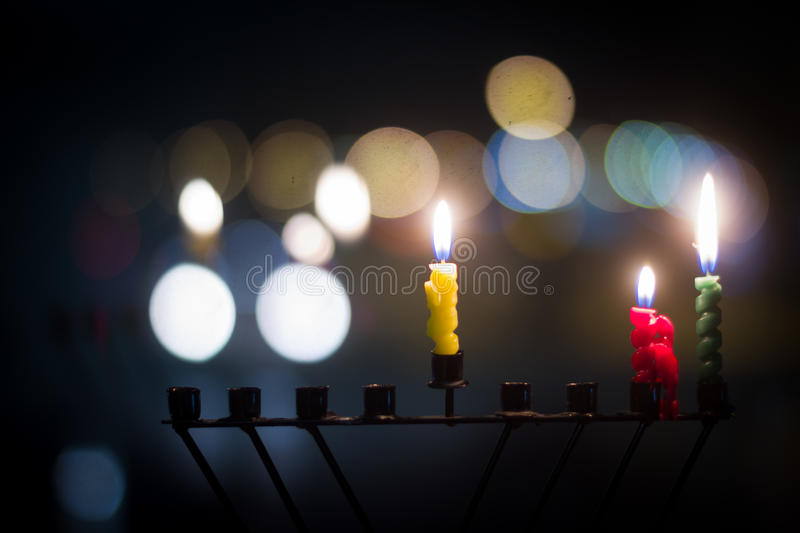 Hanukkah candles royalty free stock photos