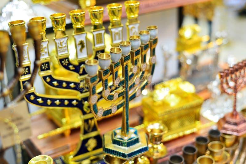 Hanukkah candlesticks on Jerusalem souvenir store.  royalty free stock photo