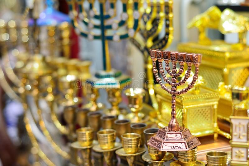 Hanukkah candlesticks on Jerusalem souvenir store.  royalty free stock photography