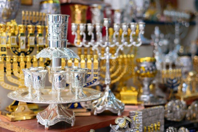 Hanukkah candlesticks on Jerusalem souvenir store.  stock photography