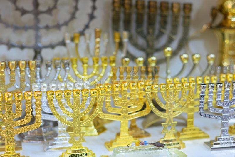 Hanukkah candlesticks on Jerusalem souvenir store, the inscription. `Jerusalem stock photos