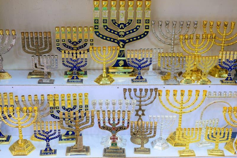 Hanukkah candlesticks on Jerusalem souvenir store, the inscription. `Jerusalem stock photo