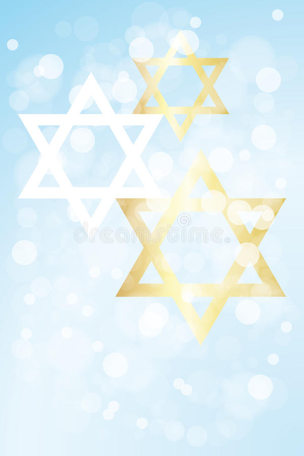Hanukkah card with copy space. Hanukkah card template without text, with stars of david on light blue background - eps 10 vector royalty free illustration