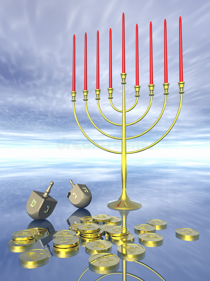Hanukkah celebration. stock illustration