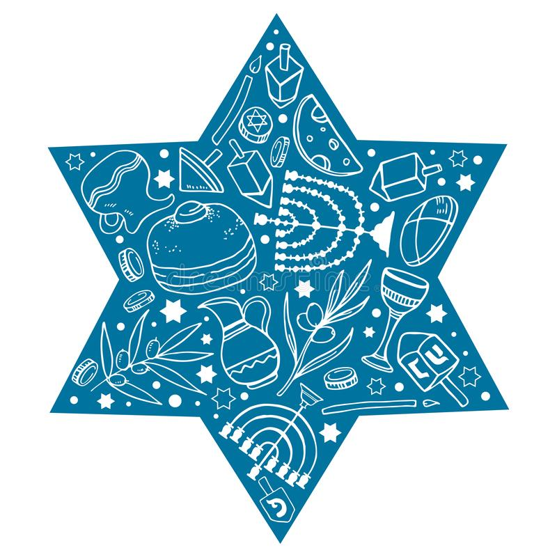 Hanukkah composition. Traditional objects in the star shape form. Hand drawn outline vector sketch illustration vector illustration