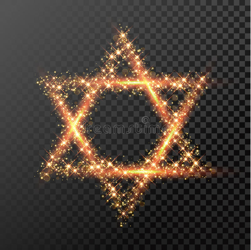 Hanukkah David Star symbol of glitter lights Jewish festival holiday. David Star of gold glittering lights. Happy Hanukkah Jewish festival holiday design element royalty free illustration