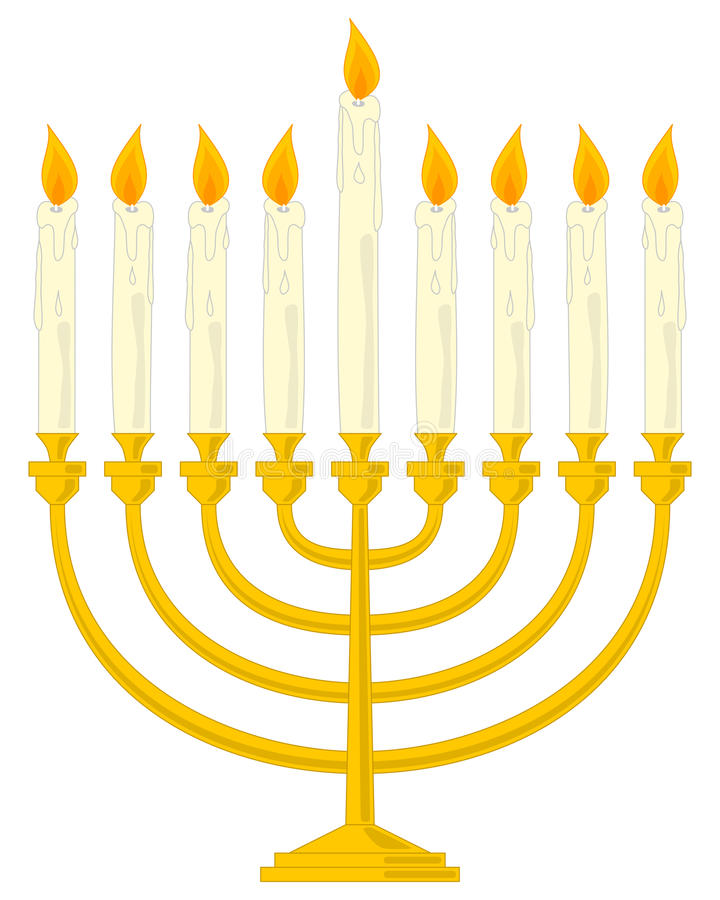 Hanukkah de oro Menorah libre illustration