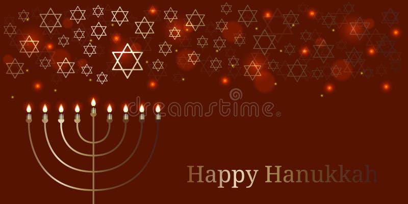 Hanukkah. 2-10 December. Judaic holiday. Traditional symbol - Menorah. Star of David. Lights and blues royalty free illustration