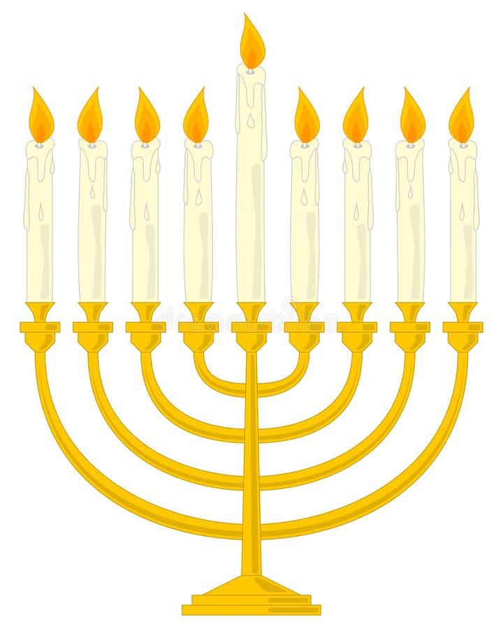 Hanukkah dourado Menorah ilustração royalty free