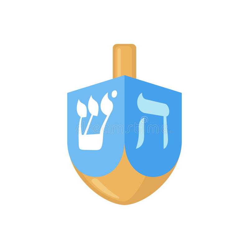 Hanukkah dreidel icon in flat style. Hanukkah dreidel icon in flat style isolated on white background. Vector illustration. Hanukkah dreidel with letters of the vector illustration