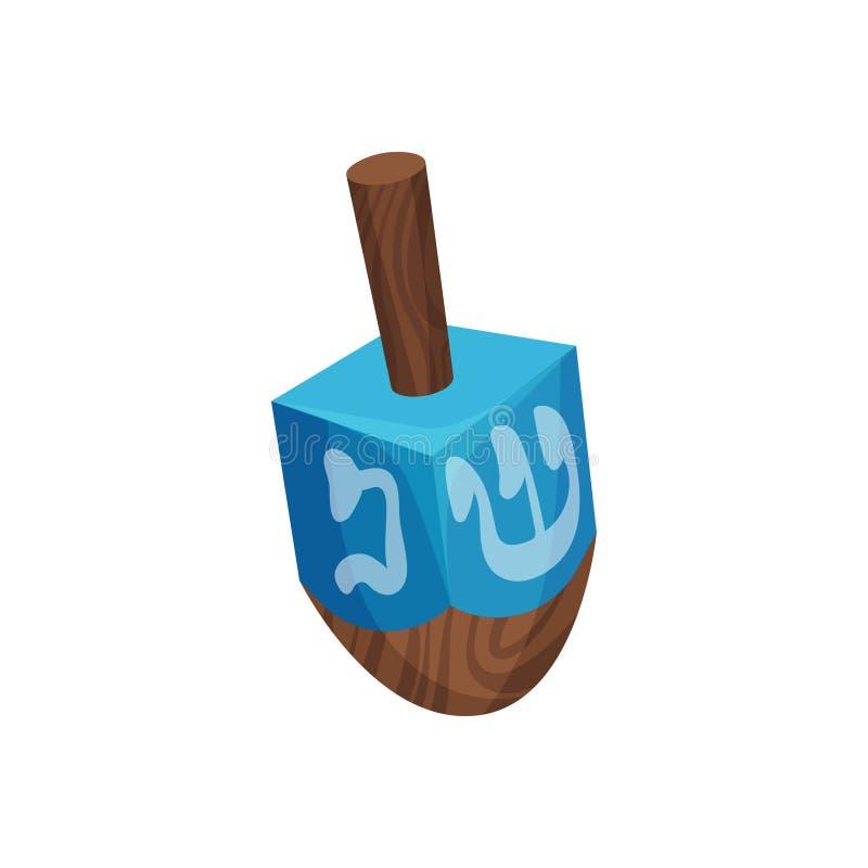Hanukkah dreidel on white background. Jewish culture. Hanukkah dreidel on white background. Jewish traditions and culture. Chanukah holiday symbol. Vector flat stock illustration