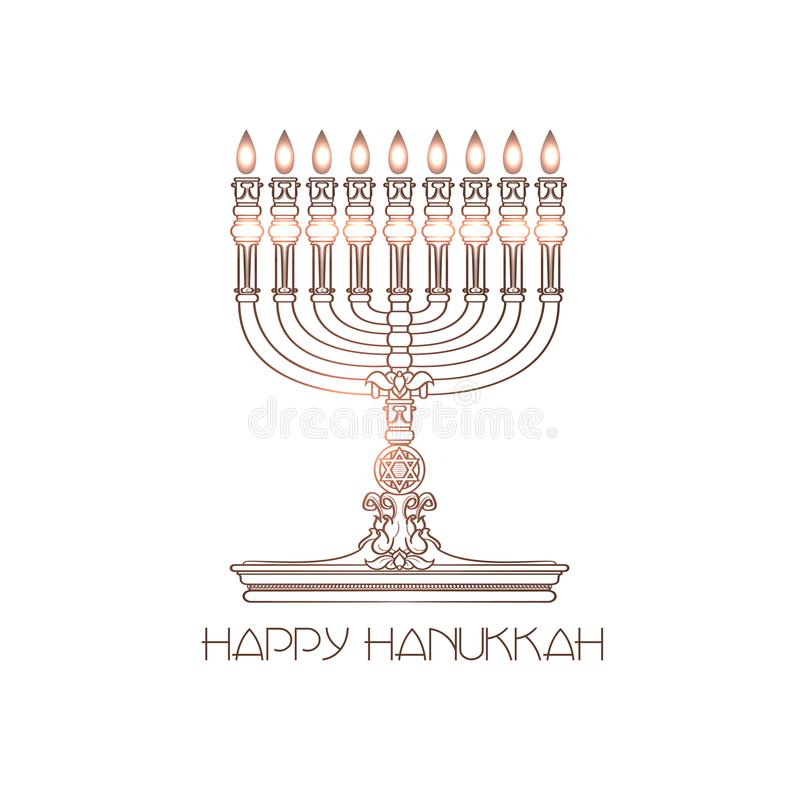 Hanukkah felice Menorah dettagliato vettore isolato su bianco royalty illustrazione gratis
