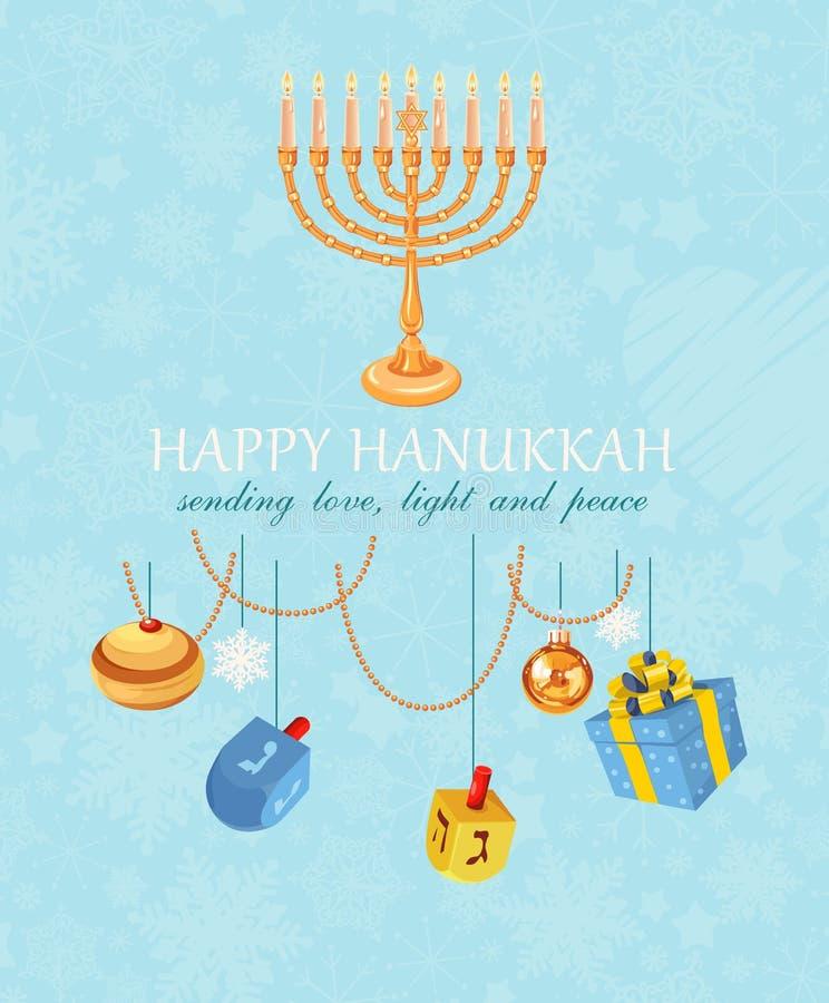 Hanukkah feliz, feriado judaico Meora do Hanukkah com velas coloridas ilustração stock