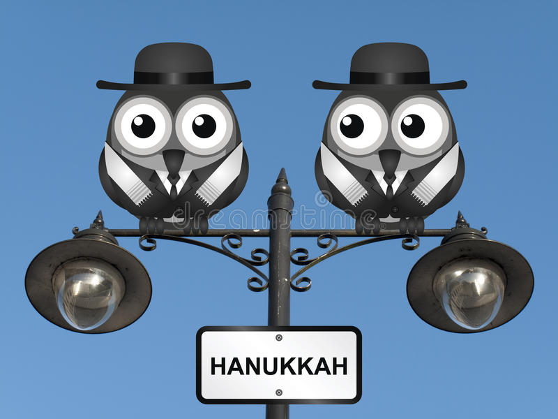 Hanukkah Festival. Hanukkah The Festival of Lights with Jewish Rabi birds perched on a lamppost against a clear blue sky stock illustration